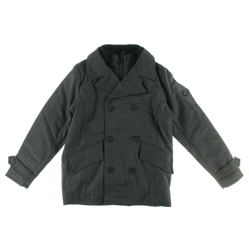 English Laundry 9614 New Mens Gray Wool Double Breasted Lined Pea