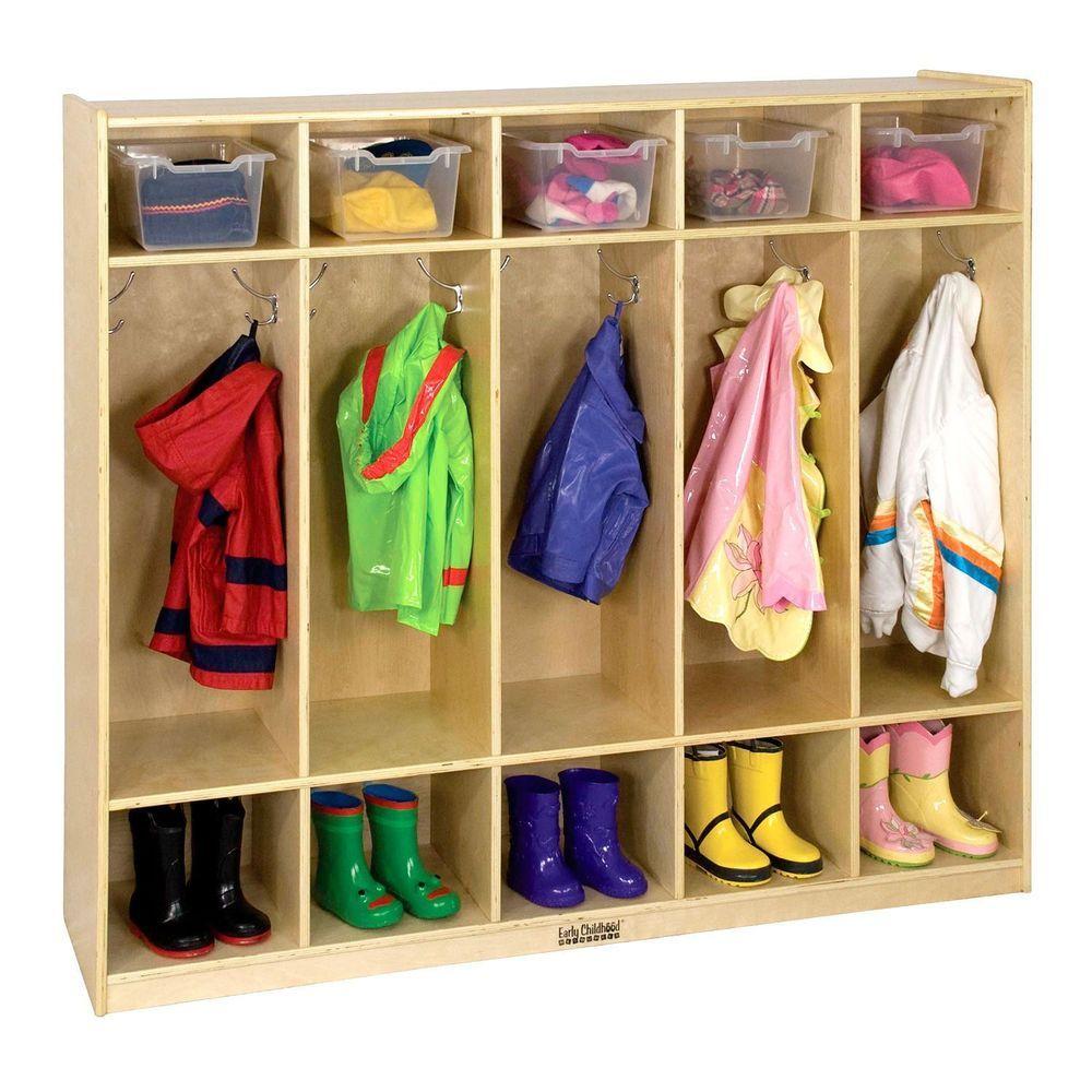 5 Section Coat Hangar Locker Bench Storage Unit Backpack Organizer Shoe Rack Ecr4kids Lockers Wood Lockers