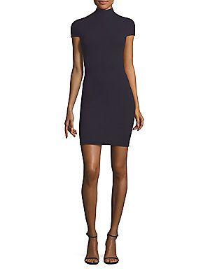 Solace London Alana Crepe Mini Dress - Navy - Size Uk