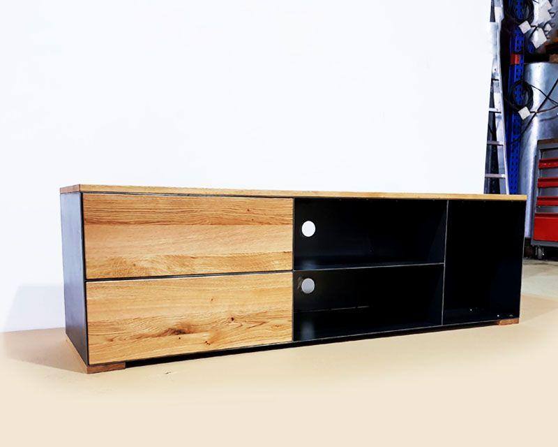 Tv Sideboard Lowboard P3 Schwarz Grau Eiche Metall Stahlzart Tv Sideboard Lowboard Lowboard Eiche
