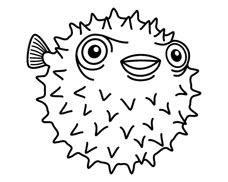 Porcupine Fish Coloring Page Malvorlagen Ausmalbilder Ausmalen