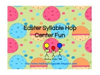 Have fun hopping syllables with picture cards and bunny cut outs.  Great as a center or small or whole group.  Can also be used to count sounds in a word.