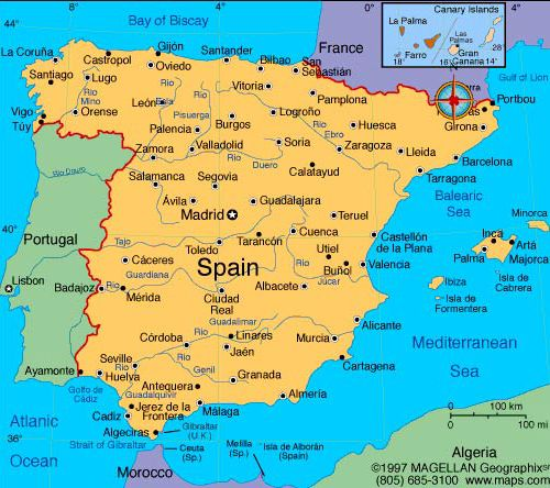 map of spain i like this map because it shows spain in relation to neighboring countries