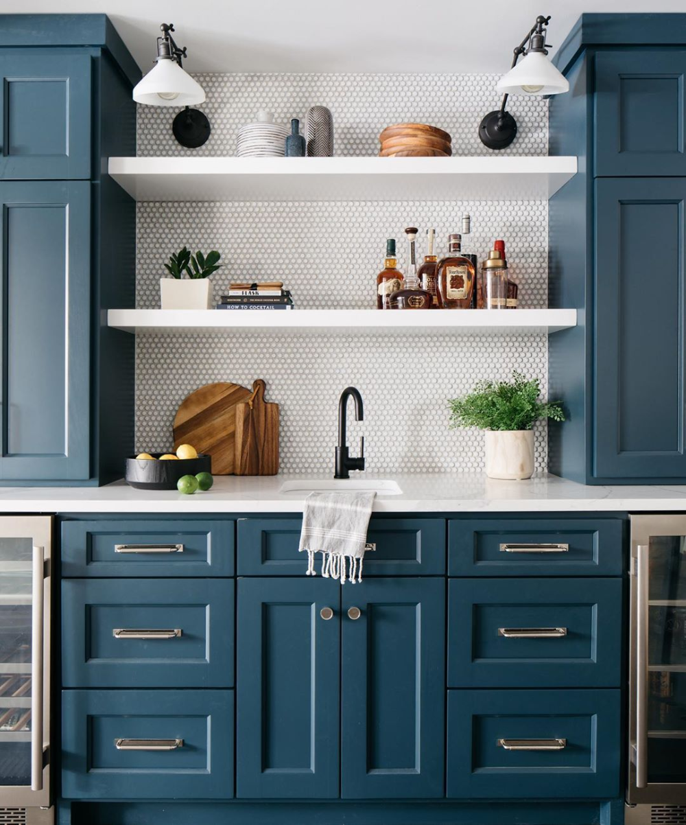 Blue Paint Colors 2020 Interiors By Color In 2020 Kitchen Cabinet Interior Blue Kitchen Interior Blue Paint Colors