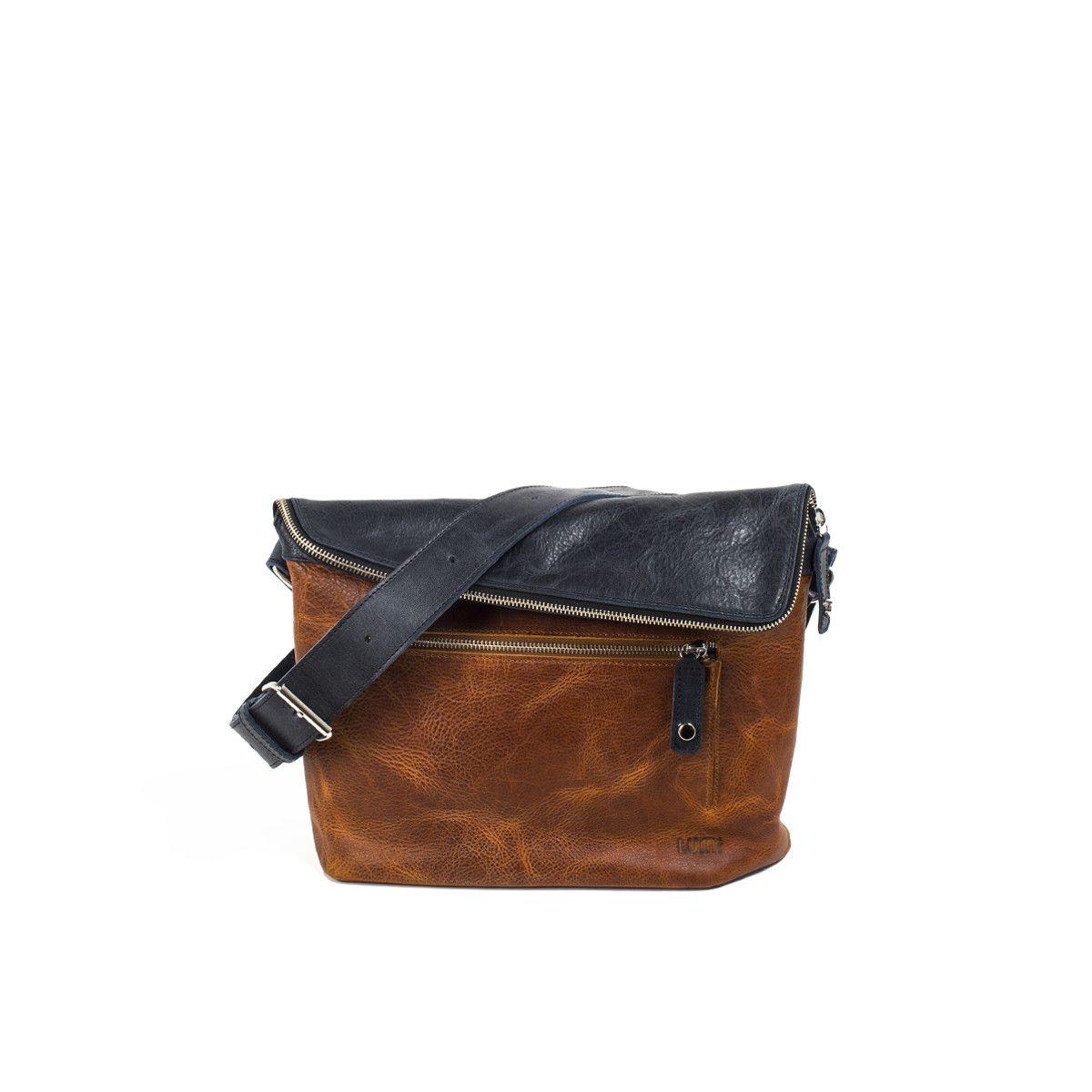81f36eb3a9 Tomi Small Messenger Bag Cognac   Navy - Lumi Accessories