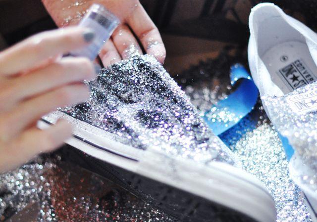 Glitter Sneaker Diy Converse One Star For Target Diy Glitter