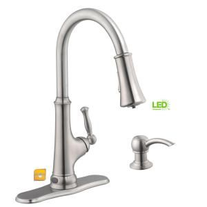 Glacier Bay Touchless LED Single-Handle Pull-Down Kitchen Faucet with Soap Dispenser in Stainless Steel 67536-0508D2 at The Home Depot - Mobile