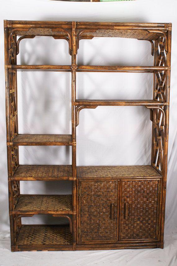 Large Bamboo Etagere Vintage Shelf Cracked Vessel Vintage With