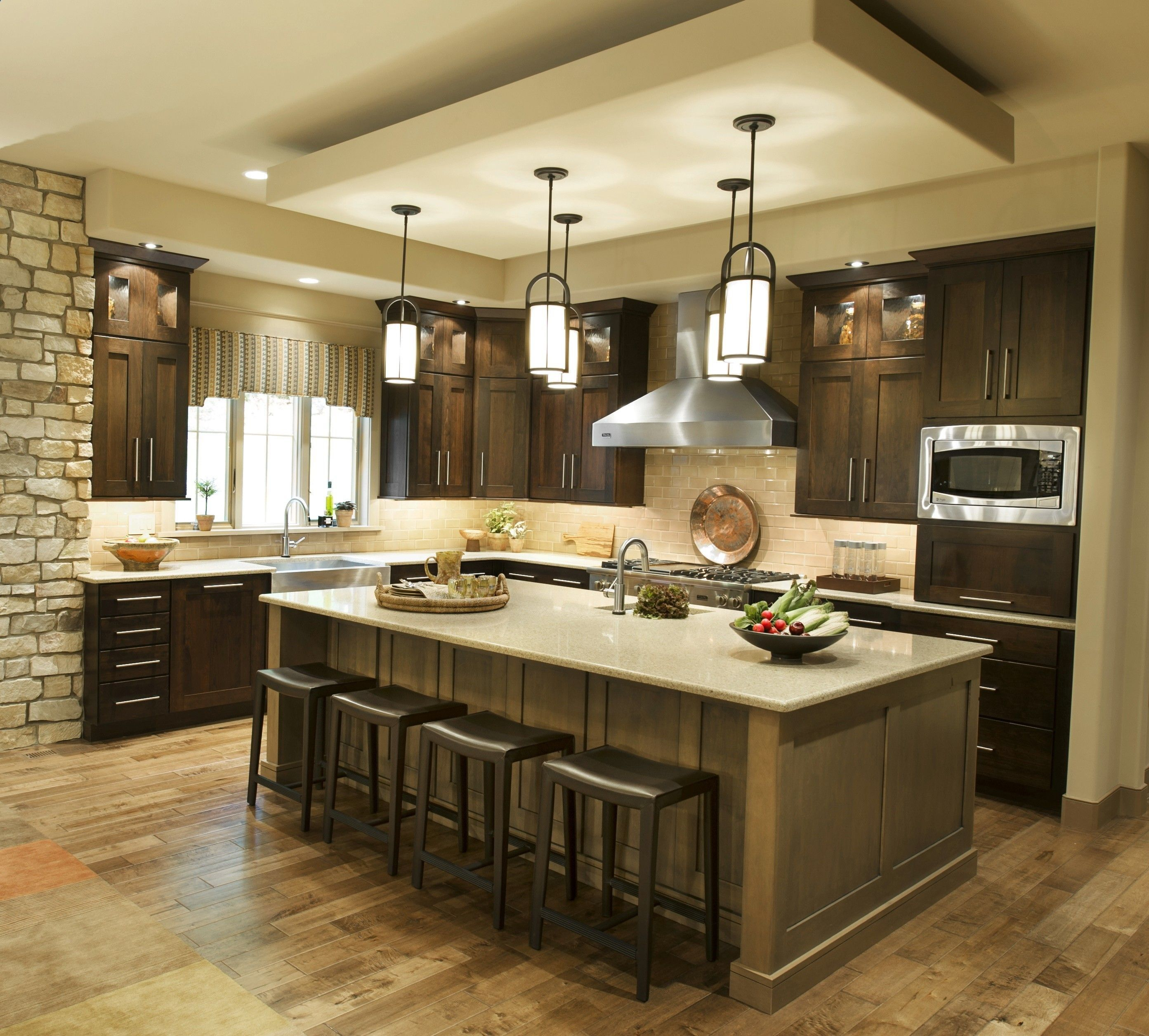 Fetching Five Light Kitchen Island Lighting Inspiration In Small L Shaped Kitchen Design Features Dark Brown Painted Finish Kitchen Cabinet Dark Kitchen Cabinets Kitchen Pendant Lighting Small L Shaped Kitchens