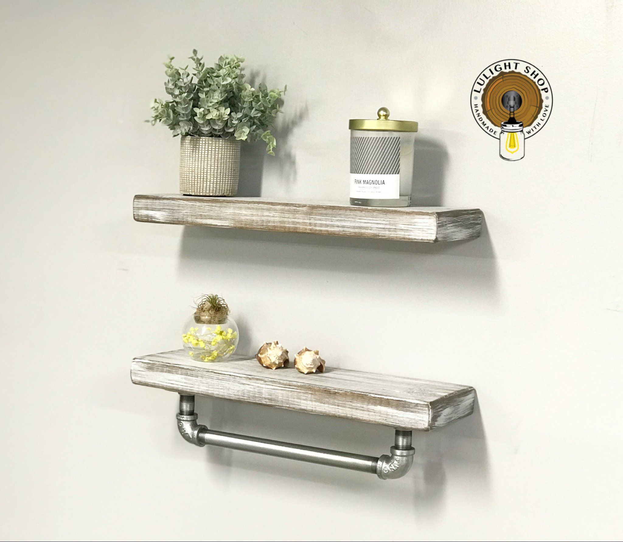 5 5 Deep Floating Shelves Set Wood Shelves Floating Shelf Light Whitewash Shelves Wall De With Images Floating Shelves Bathroom Furniture Storage Kitchen Wall Shelves