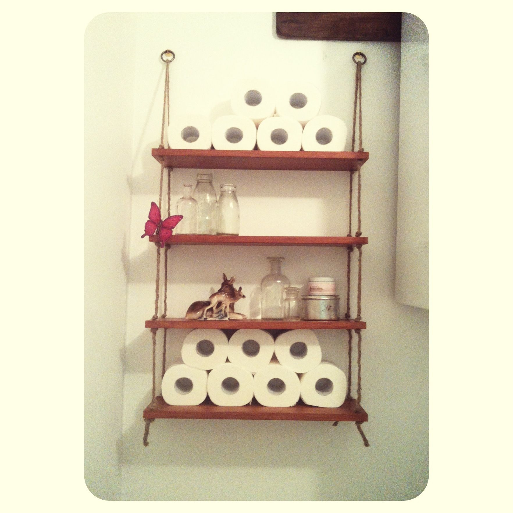 DIY rope shelves Made from an old cd unit, drill some holes ...