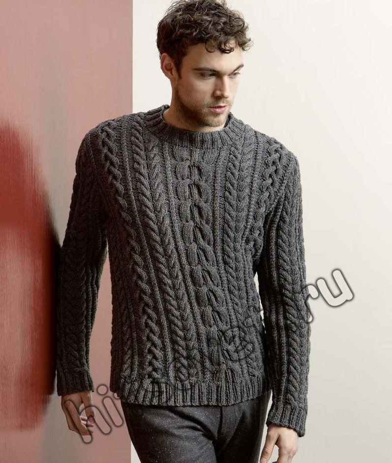 мужской пуловер с косами спицамиописание вязание для мужчин