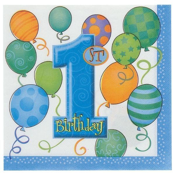 1st Birthday Balloons Blue Lunch Napkins 16ct