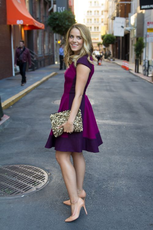 Julia From Gal Meets Glam In Ted Baker S Linkah Dress The Color Of Is Amazing And Sparkly Bag Perfect