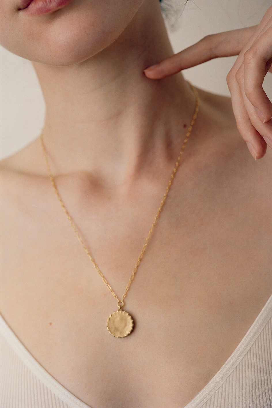 Brass Pendant With Textural Detail On 14k Gold Plated Brass Chain Pendant Measures 18mm Across Chain Available In Necklace Jewelry Photoshoot Charm Necklace