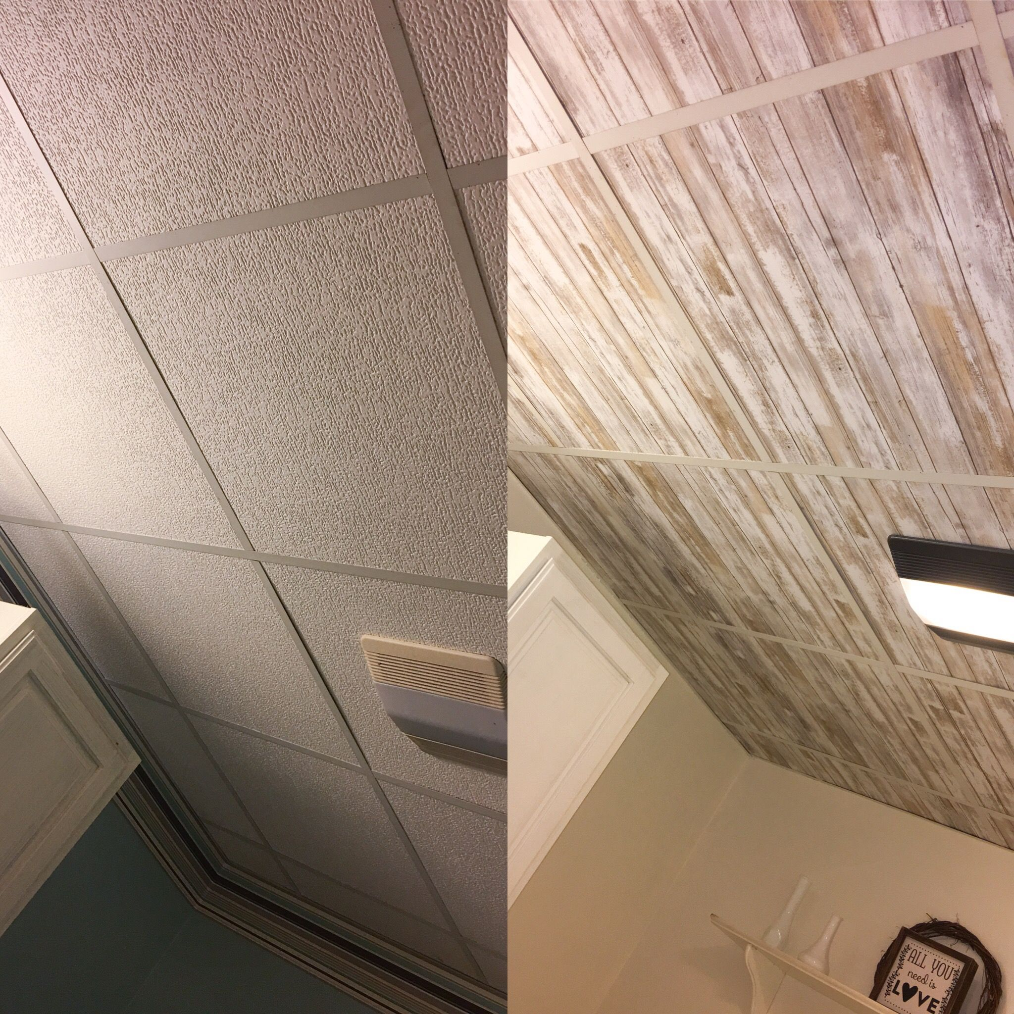 Wallpapered drop ceiling update drop ceilings with peel and stick ceiling tiles dailygadgetfo Image collections