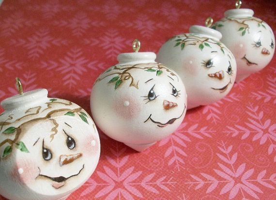 Handpainted Christmas Ornaments Round Snowman Faces Handpainted Christmas Ornaments Painted Christmas Ornaments Christmas Ornaments