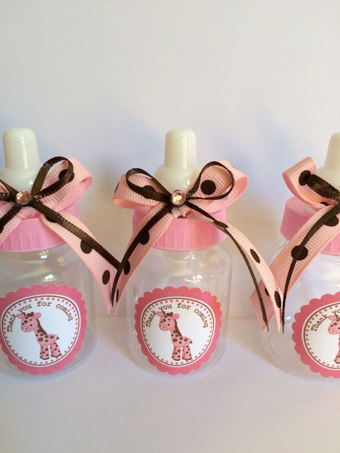 Pink And Brown Giraffe Baby Bottles For Baby Shower Girl S Baby