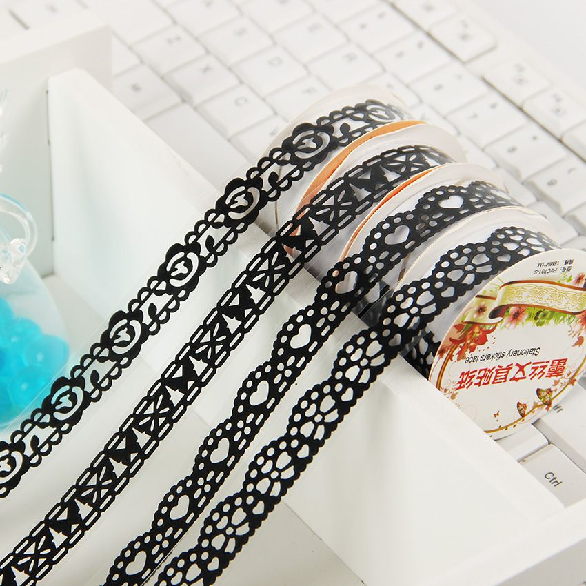 Office Adhesive Tape Candy Colors Lace Tape Decoration Roll Decorative Sticky Paper Masking Tape Self Adhesive Tape Office & School Supplies