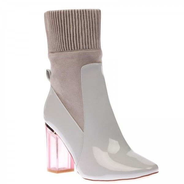 Thea High Ankle Boot In Grey Patent With Pink Heel (975 MXN ...