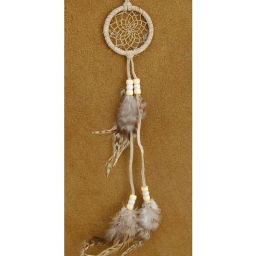 2 inch Native American Genuine Beige Buckskin Brown Striped Feather Traditional Dreamcatcher By Berlinda - Alltribes.com