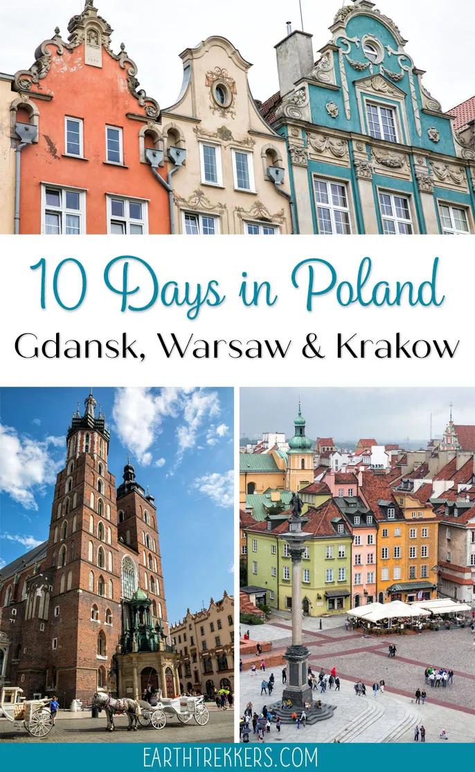 10 day Poland Itinerary and Travel Guide for Gdansk, Warsaw, Krakow and Zakopane. #poland #krakow #warsaw #gdansk #travelguide #itinerary
