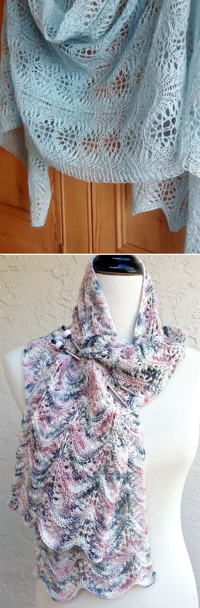 Free Knitting Pattern for Easy Swell Scarf - This easy lace scarf is ...