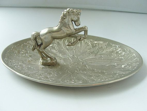 VINTAGE PEWTER HORSE Ashtray Mustang Dish by SaffaronVintage