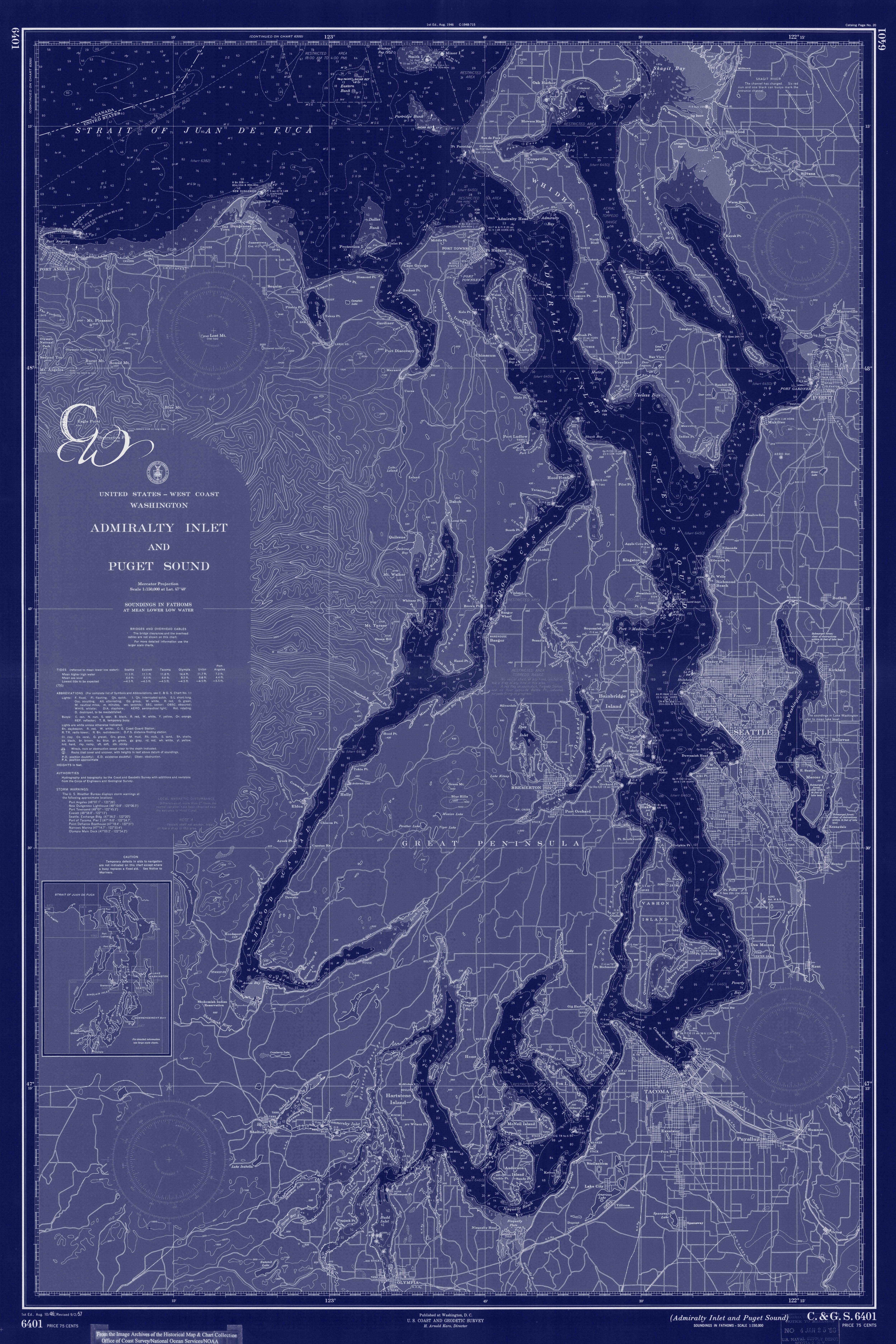 Puget Sound Washington State Nautical Chart Map 1956 Dark Blue DIGITAL PRINT For Download 20 X 30 Art Prints Printable Maps