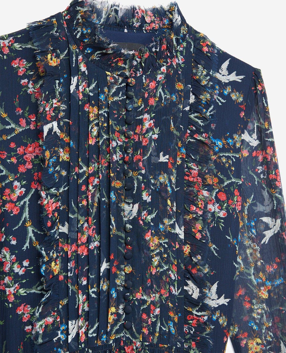 00235e321e1 Blue Bird black dress in silk - Collection THE KOOPLES | Spring 2019 ...