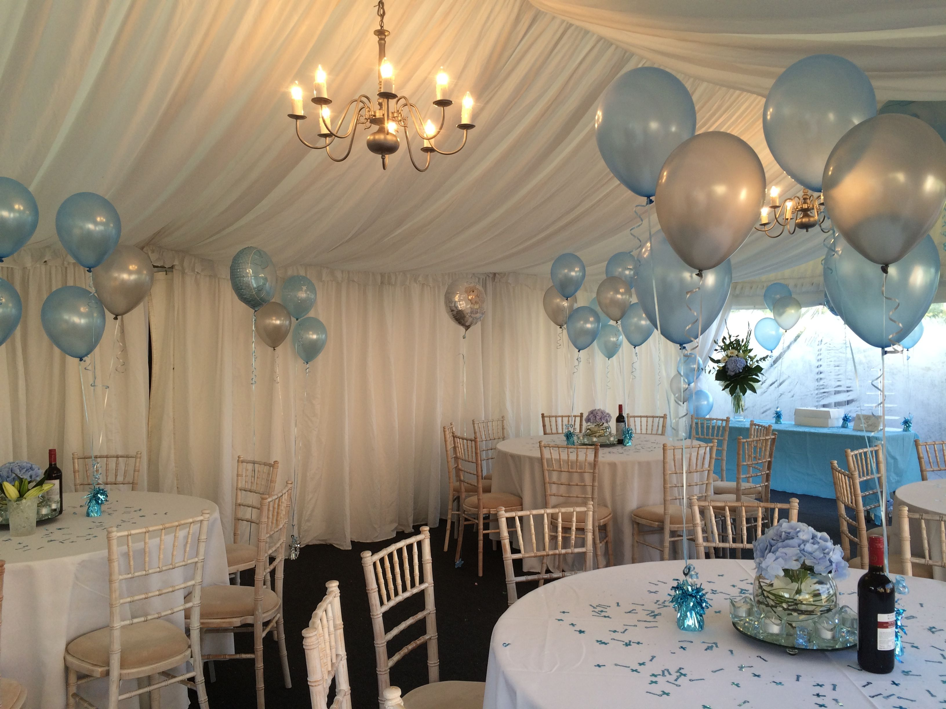 Complementary Floor And Table Balloon Decorations All Ready For The Christening Of A Lovely Baby Boy