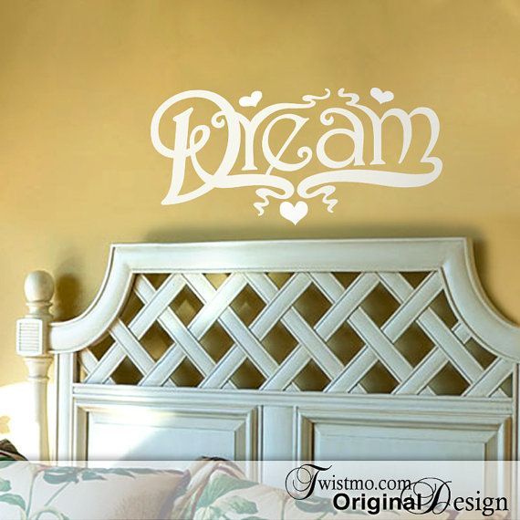 Vinyl Wall Decal Dream with Hearts Wall Words Vintage by Twistmo ...
