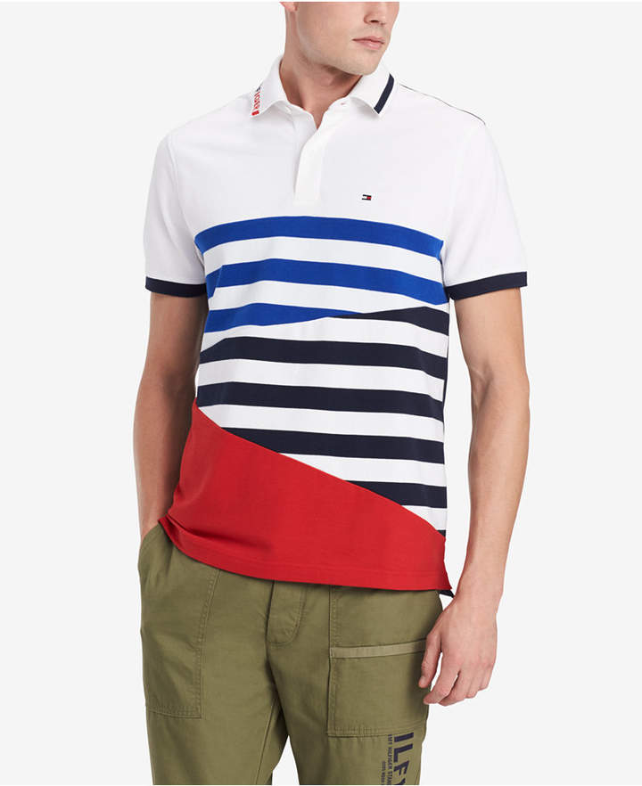 aa654e39c5f8f Men's Custom Fit Colorblocked Stripe Polo, Created for Macy's in ...