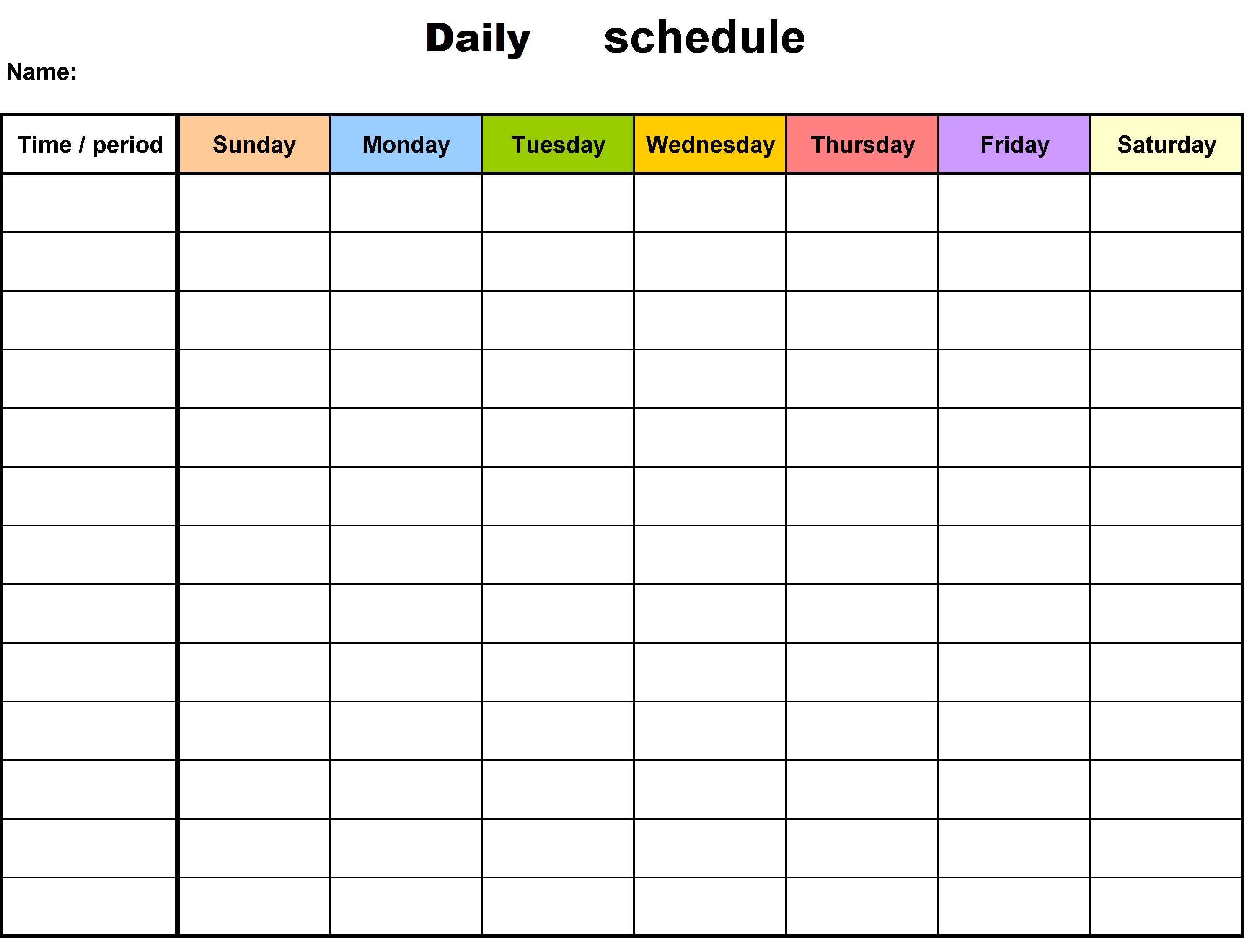 office timetable template