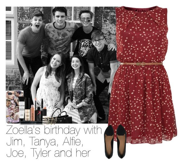 """""""Zoella's birthday with Jim, Tanya, Alfie, Joe, Tyler and her"""" by haushuahusahuhushu ❤ liked on Polyvore featuring Tenki, ASOS, Payne, Smashbox, Topshop and Accessorize"""