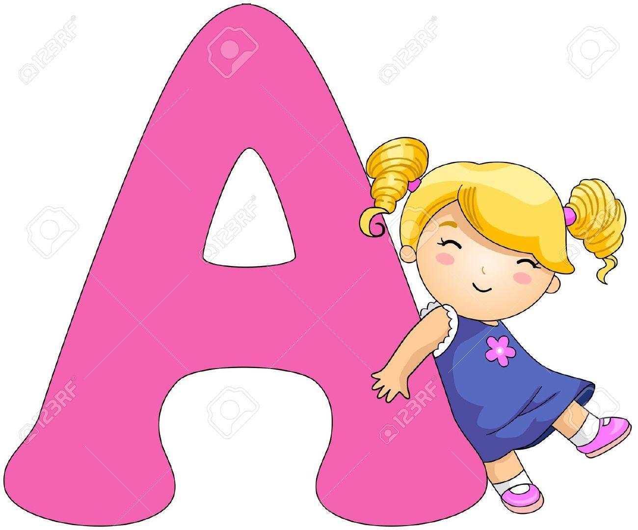 Illustration Illustration Of A Girl Resting Against A Letter A Lettering Alphabet Alphabet Preschool School Coloring Pages