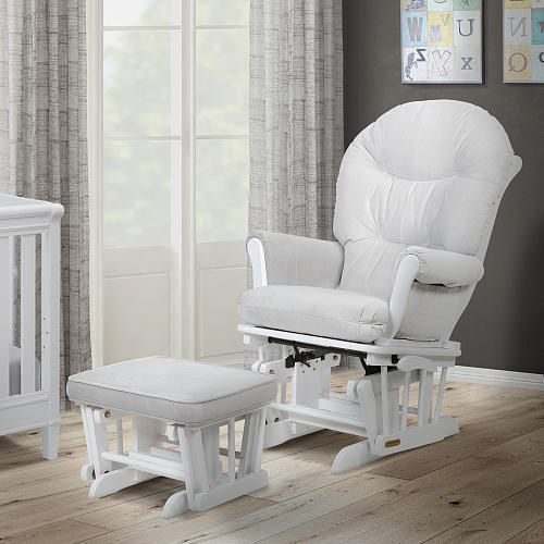 Pleasant Shermag Valencia Glider And Ottoman Set White Light Gray Gmtry Best Dining Table And Chair Ideas Images Gmtryco