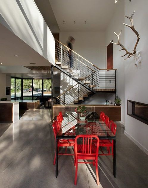 Dining Table With Red Chairs Dihedral House Id935 Boulder Colorado Usa Residential Designs Architecture Design