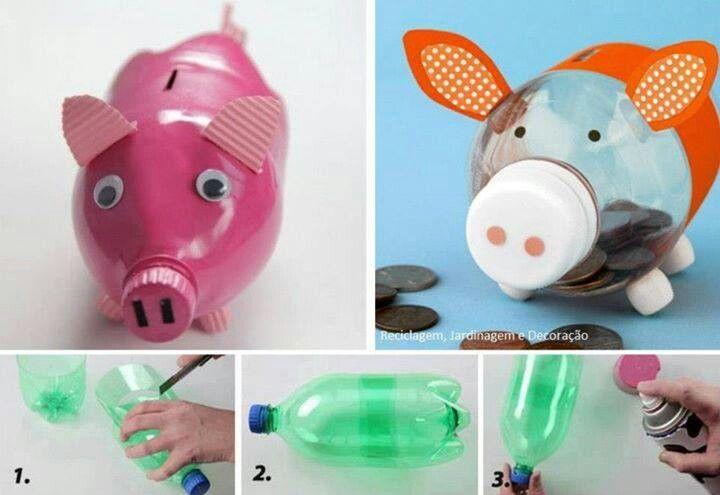 Pin De Nair En Manualidades Manualidades Hucha Cerdito Reutilizar Botellas De Plástico