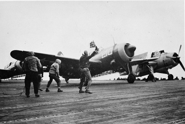 SB2C-4 of Bombing Squadron 84 (VB-84) pictured just prior to launch from USS Bunker Hill (CV-17)