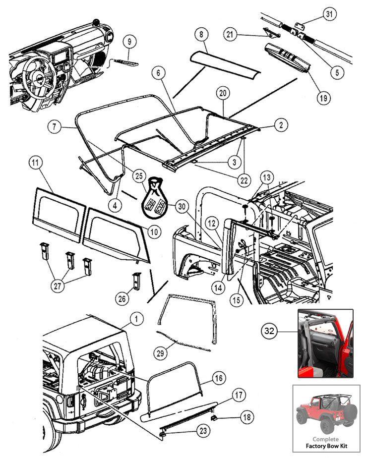 Soft Top Hardware for Wrangler JK   Jeep JK Parts Diagrams