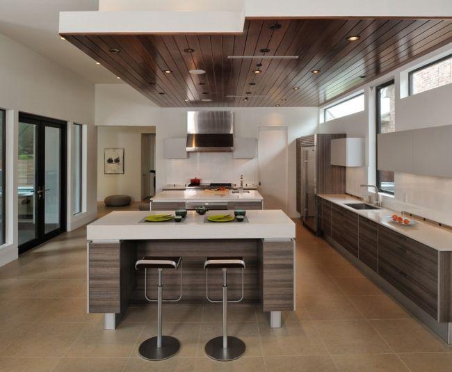 moderne küche holz weiß kücheninsel abgehängte decke holz ...