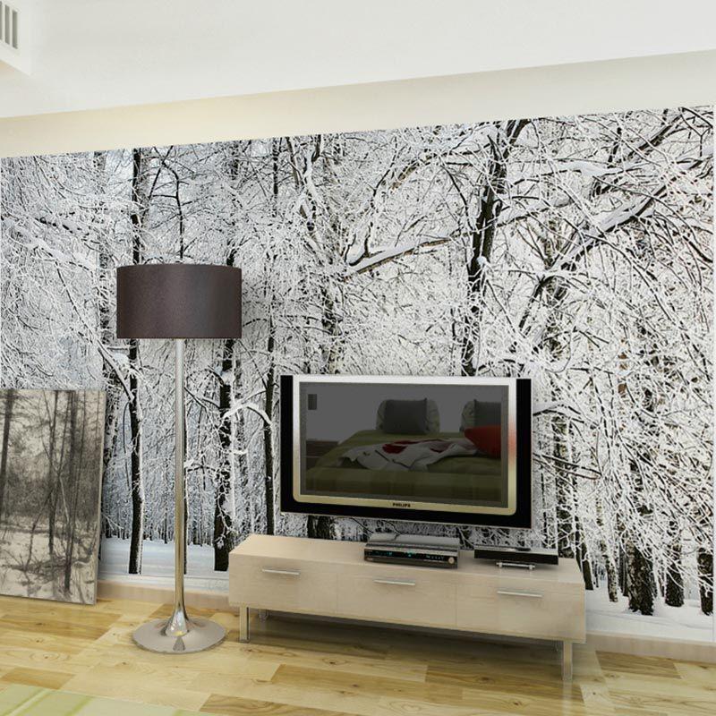 Best Large Wall Murals Papel De Parede Snow Birch Trees Forest 640 x 480