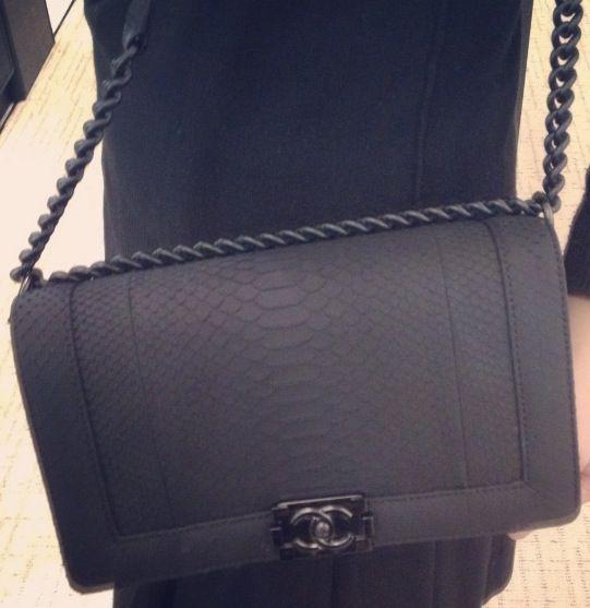 cc708cbfcb Matte black python Chanel boy bag