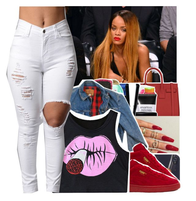 """""""Out"""" by divap01 ❤ liked on Polyvore featuring Yves Saint Laurent, Wrangler, Puma and Chicnova Fashion"""
