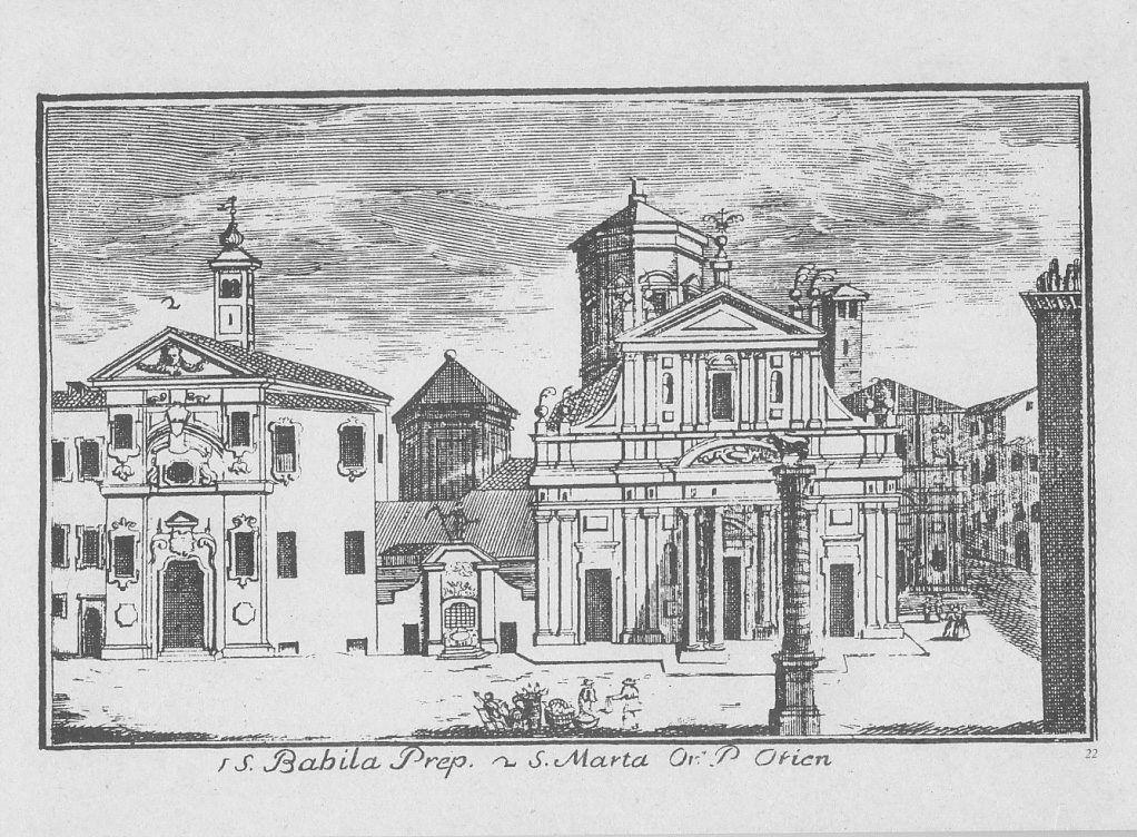 """Chiesa di S. Babila, piazza S. Babila, Milano. Marc'Antonio Dal Re, """"Vedute di Milano"""", incisione 22 (ca. 1745)."""