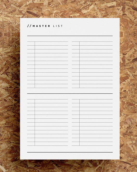 Master Task List Printable Task Planner Master To Do List