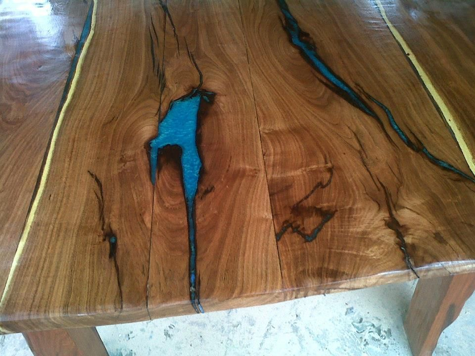 Wood Filler Plywood ~ Wood top with epoxy google search furniture