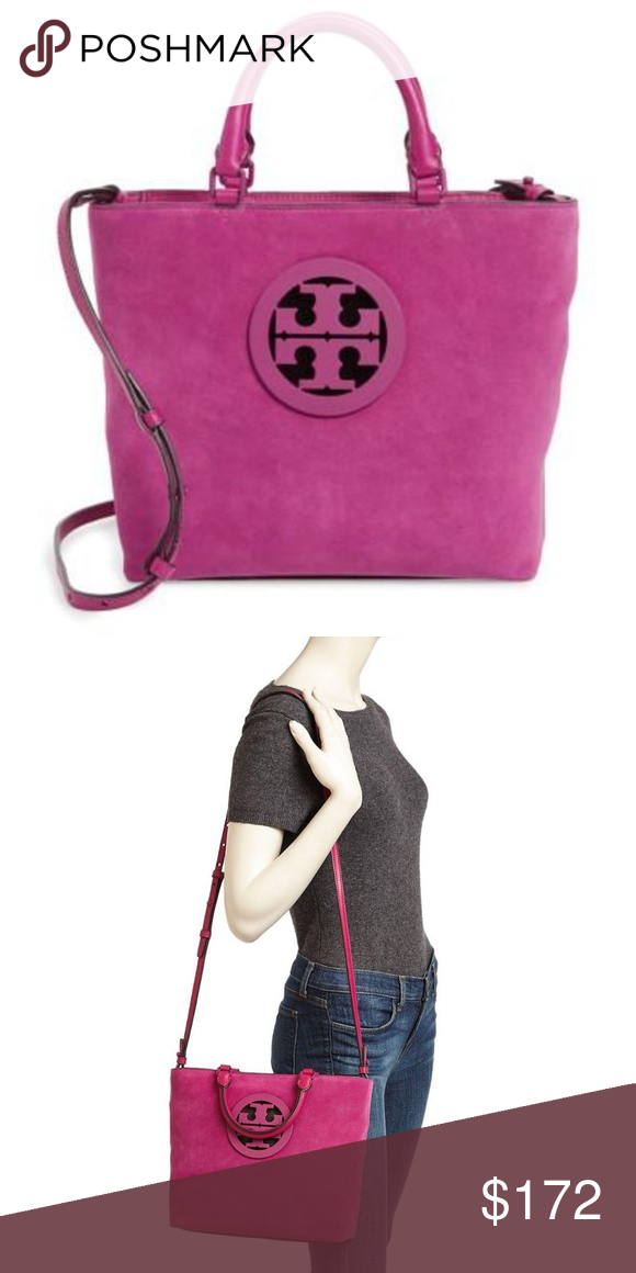 77a4e482465 Tory Burch Charlie Small Suede Tote in Fuschia Whether you re heading to  the office or to a party