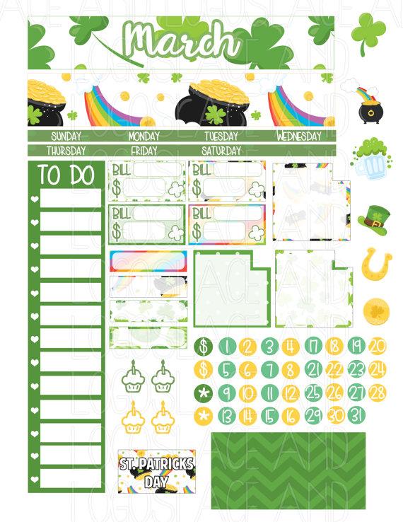 March Erin Condren Stickers St Patricks Stickers St Patricks Planner Stickers March Planner Kit March Sticker Kit